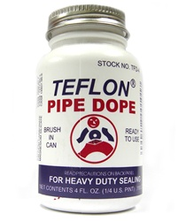 SOS Products Teflon Pipe Dope for heavy duty sealing, comes in a 4 FL. OZ. container with brush for easy application to pipe threads. Safe, non-toxic mixture can be used with food service systems.