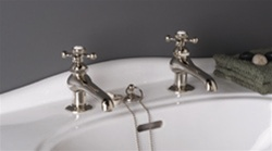 Strom Plumbing - P0012M Matte Nickel Antique Reproduction Individual Basin Faucets with Cross Handles. The P0012 metal cross handles have porcelain buttons for hot and cold.