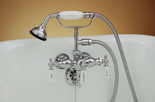 Strom Plumbing P0154 Leg Tub Faucet With Handheld Shower