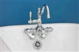 Strom Plumbing P1018C -CHROME  THERMOSTATIC TUB WALL MT FAUCET W/FIXED ARCH SPOUT. INCLUDES ADJUSTABLE SWING ARM COUPLERS, TUB CENTERS ARE 3 3/8-inch TO 12-inch, BATHROOM WALL MOUNT CENTERS ARE MINIMUM 4 1/2-inch TO 12-inch, INCLUDES VACUUM BREAKER
