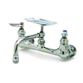 T&S Brass - B-0233-01 - Double Pantry Faucet, Wall Mount, 8-inch Centers, 6-inch Swing Nozzle with Soap Dish