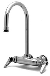 T&S Brass - B-0345 - Double Pantry Faucet, Wall Mount, 3 3/8-inch Centers, Rigid Gooseneck, Lever Handles