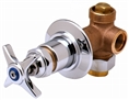 T&S Brass - B-1020 - Concealed Bypass Valve, 1/2-inch NPT Female Inlet and Outlet, 4-Arm Handle, Cold Index