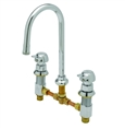 T&S Brass - B-2820-PA - Metering Faucet -  Deck Mount, 8-inch Centers, Rigid Gooseneck Spout and Pivot Action Push Button Handles