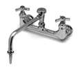 T&S Brass BL-5775-08 - Wall mounted laboratory sink faucet with serrated hose tip and vacuum breaker assembly.
